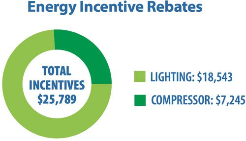 Energy efficient air compressor and energy efficient lighting for a free energy audit